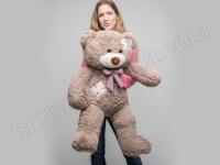 Большой плюшевый медведь с латками Каппучино
