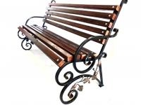 Садовая скамейка со спинкой (стальные боковины, разборная конструкция)